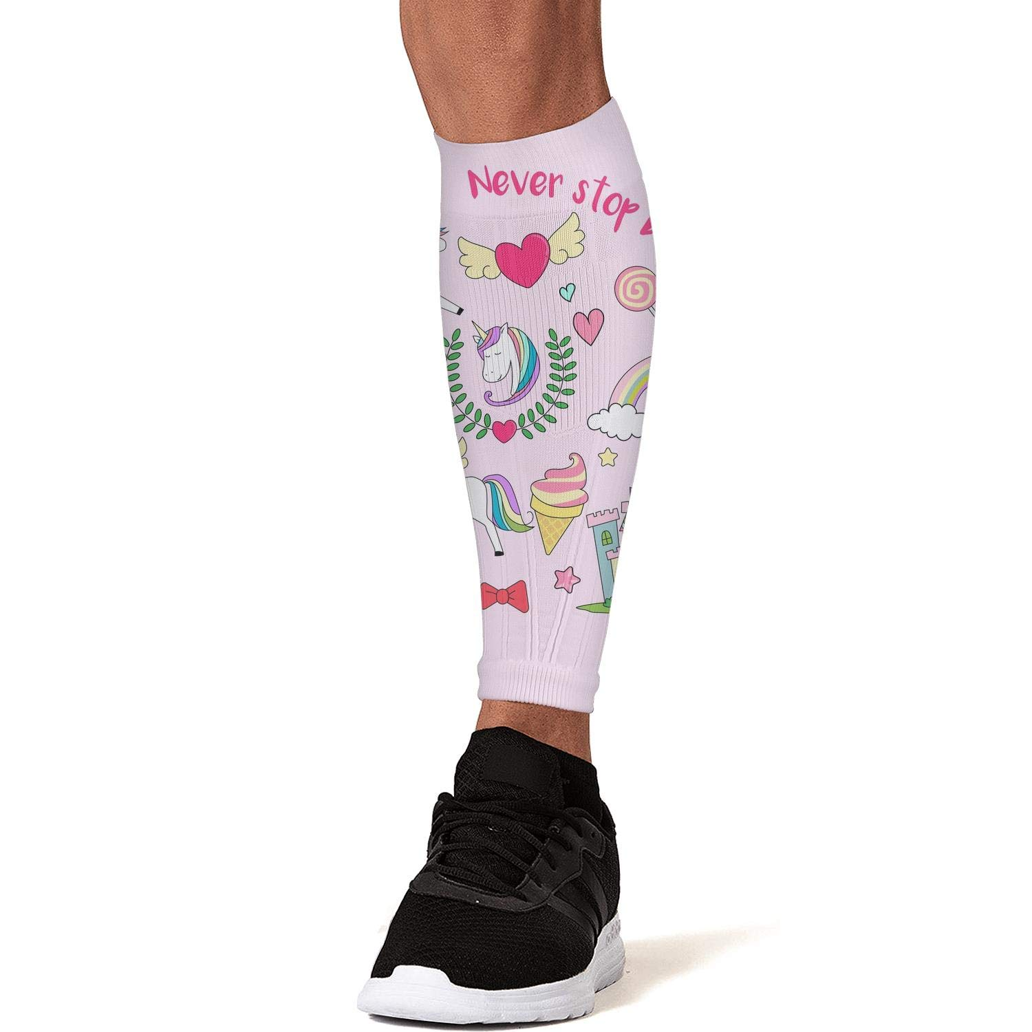 Smilelolly Unicorn /& Rainbow Calf Compression Sleeves Helps Calf Guard Leg Sleeves for Men Women