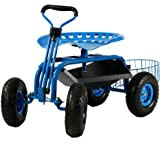 Sunnydaze Rolling Garden Cart with Extendable Steering Handle, Swivel Seat & Tool Tray, Blue