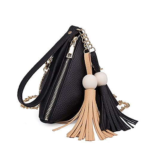 cced3555 YSMYWM Women Mini Purse Fringe Bag Triangle Clutches Tassel Pyramid Casual  Leather Handbags (Black): Handbags: Amazon.com