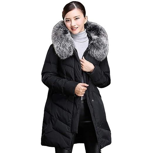 b2acfc86e Amazon.com: EBOOGE Women's Big Fur Collar Down Coat Thickened Puffer ...