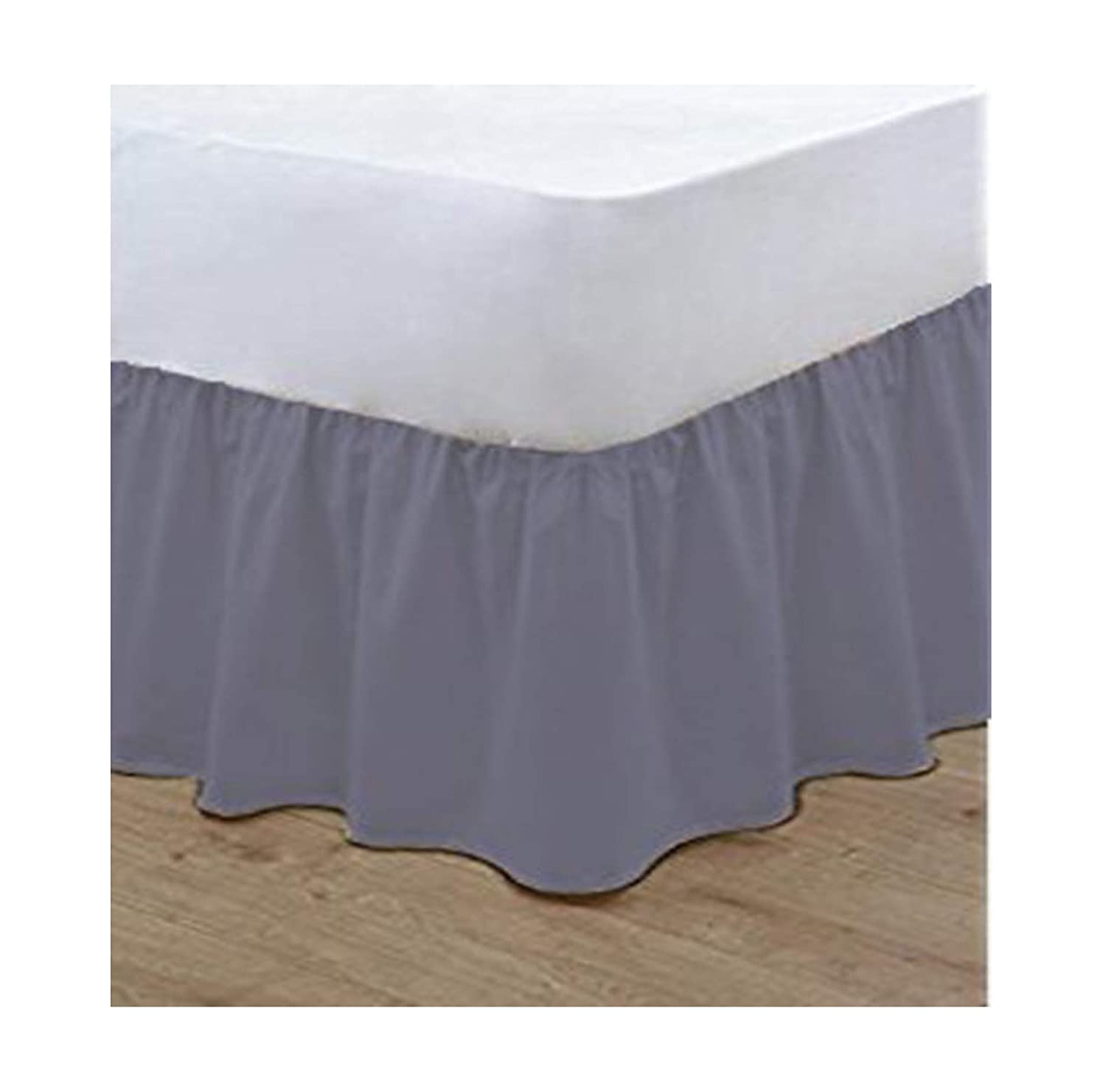 nz Plain Dyed Poly Cotton Soft Frilled Base Valance Sheets Bed Sheets Covers Single, Mid Blue