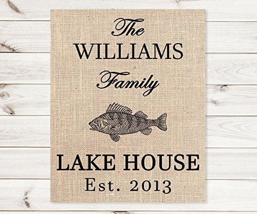 Lake House Print, Personalized Burlap Print, 8x10, 11x14 or 12x18, Choose From 3 (Sultans Secret Door)