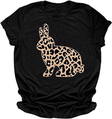Eoeth Easter Leopard Rabbit Letter Print Blouse Women Summer Round Neck Short Sleeved T-Shirt Tops Pullover Shirts Tee