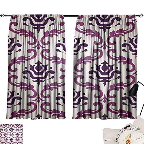 (smallbeefly Blackout Draperies for Bedroom Vintage Vector Leaf Damask Brocade Vine Tapestry Wallpaper Background Pattern 72