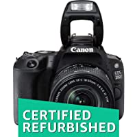 (CERTIFIED REFURBISHED) Canon EOS 200D 24.2MP Digital SLR Camera + EF-S 18-55 mm f4 is STM Lens, Free Camera Case and 16GB Card Inside