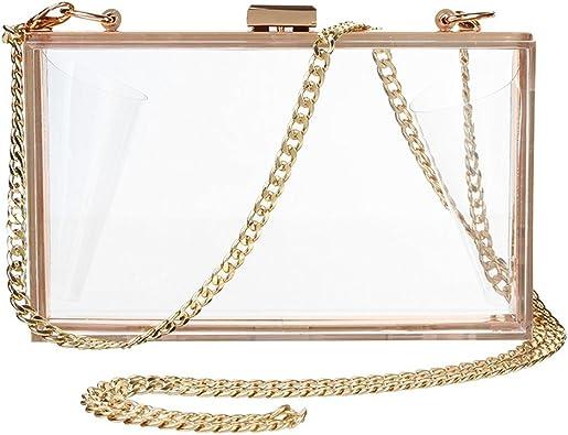 Womens Purse Small Transparent Shoulder Crossbody Clear Clutch Waterproof Chain Strap Satchel handbag