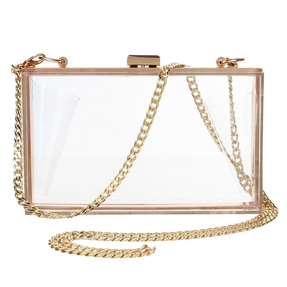 Women Cute Transparent Clear See Through Box Clutch Acrylic Evening Handbag Cross-Body Purse Bag (Clear)
