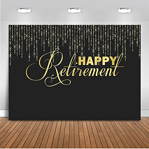 Mehofoto Happy Retirement Backdrop Glitter Lights Congrats Retirement Photography Background 7x5ft Vinyl Retirement Party Banner Backdrops -