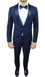 5565d91697af Abito Completo Uomo Sartoriale Blu Elegante Tessuto Raso Nuovo Slim Fit  Aderente
