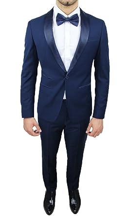 2212c373d9 Abito Completo Uomo Sartoriale Blu Elegante Tessuto Raso Nuovo Slim Fit  Aderente