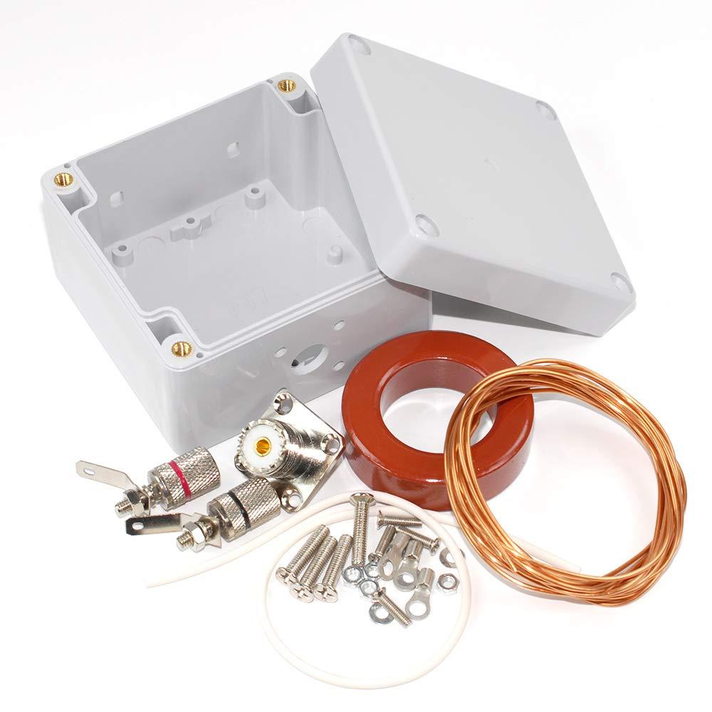 AEcreative 10-160 Meter Amateur ham HF Band Radio Wire Loop Antenna Balun Unun DIY kit T200-2 Type 2 Iron Powder ferrite toroid core 16AWG 1.3mm ...