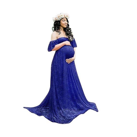 Cinnamou Vestidos embarazada fotografia, vestido fotos mujer embarazada fuera del hombro fotografia Ropa premamá Ceremonia y Eventos Vestido Largo Maxi ...