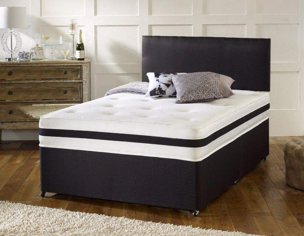 Revive Direct | New Black Leather Divan Bed Set with a 10