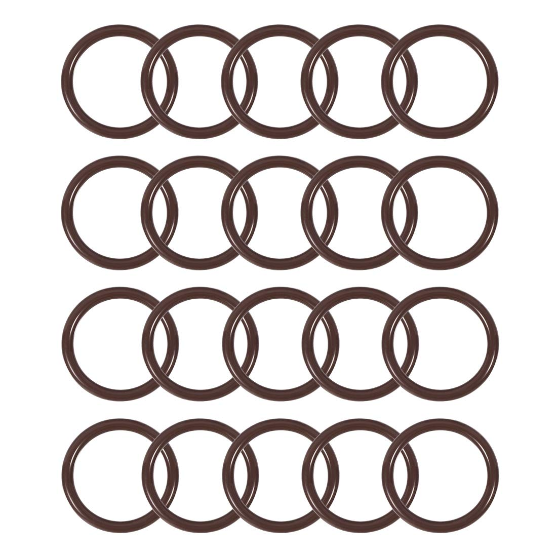 uxcell Fluorine Rubber O-Rings 13mm OD 8.2mm ID 2.4mm Width FKM Seal Gasket Brown 20pcs
