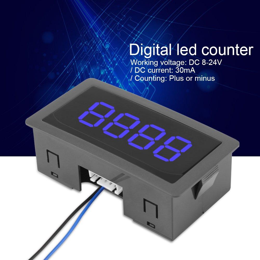 0-9999 Up//Down Plus//Minus pantalla digital LED CC panel de medici/ón luminoso 4 d/ígitos azul Contador digital LED de alta precisi/ón panel de 4 d/ígitos con cable