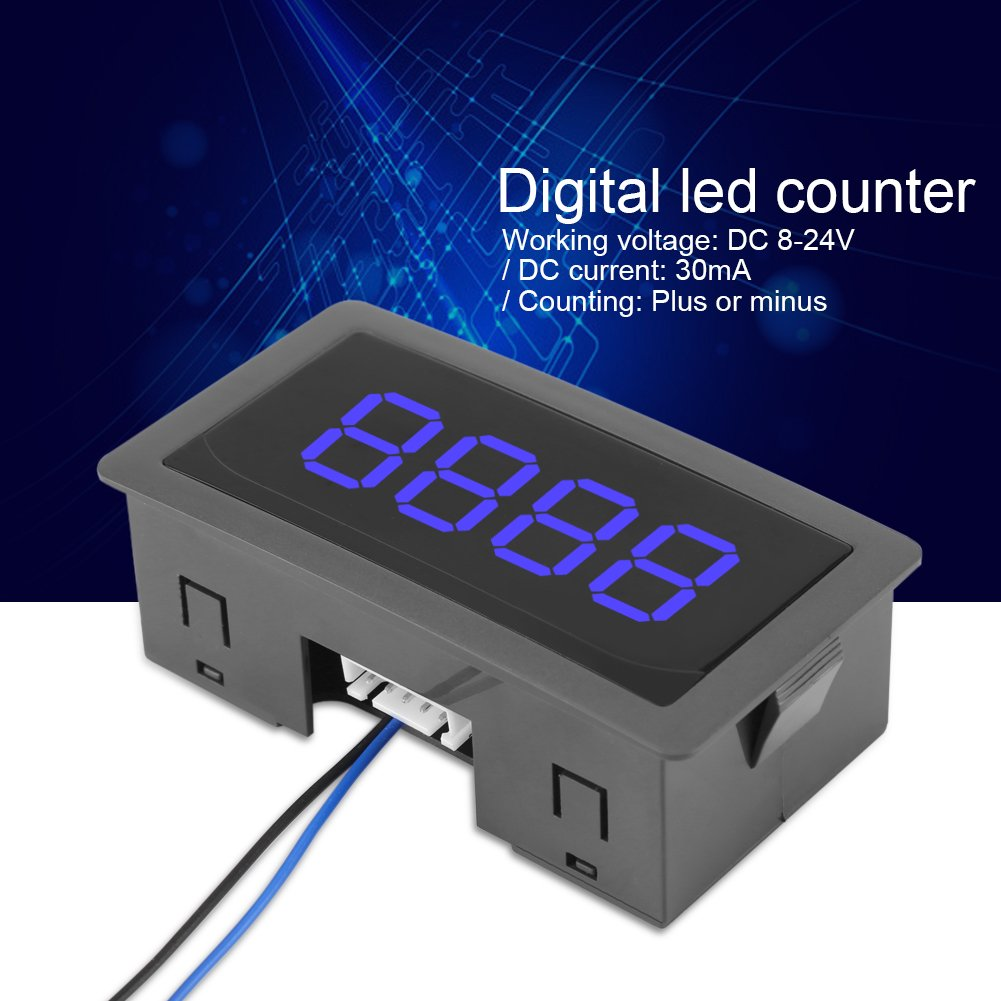 Blue Digits Walfront DC 12V LED Digital Counter Meter 4 Digit 0-9999 Up//Down Plus//Minus with Cable
