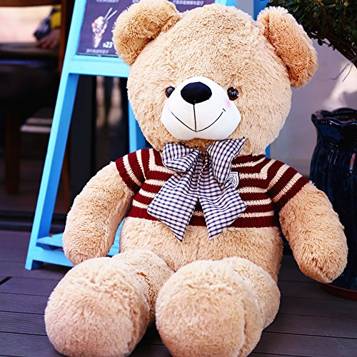 Little Costume Cuddly Brown Bear (YXCSELL Cuddly Light Brown Cute Soft Stuffed Plush Animals Giant Teddy Bear with Red Striped Sweater and Blue Plaid Bow)