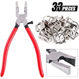 """Swpeet 32 Sets 1"""" 25mm Sliver Fob Hardware with 1Pcs Key Fob Pliers, Glass Running Pliers Tools with Flat Jaws, Studio Running Pliers Attach Rubber Tips Perfect for Key Fob Hardware Install"""