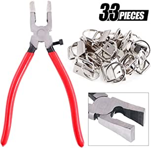 "Swpeet 32 Sets 1"" 25mm Sliver Fob Hardware with 1Pcs Key Fob Pliers, Glass Running Pliers Tools with Flat Jaws, Studio Running Pliers Attach Rubber Tips Perfect for Key Fob Hardware Install"