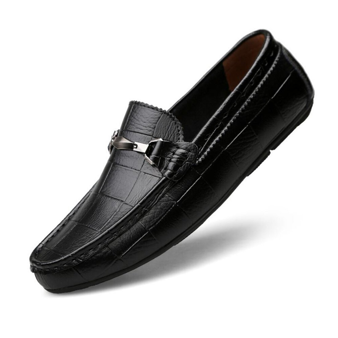 CAI Herrenschuhe PU Frühling/Sommer / Herbst Herren Faul Fahr Schuhe Mode Mode Bean Schuhe Loafers & Slip-Ons Niedrig Top Single Schuhe (Farbe : Schwarz, Größe : 42)