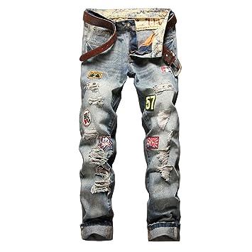 LaoZan Vaqueros Rectos para Hombre, Pantalón Mezclilla Pantalones Vaqueros Destruido Slim Fit Rasgado Jeans #777