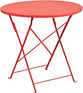 "Flash Furniture Commercial Grade 30"" Round Coral Indoor-Outdoor Steel Folding Patio Table"