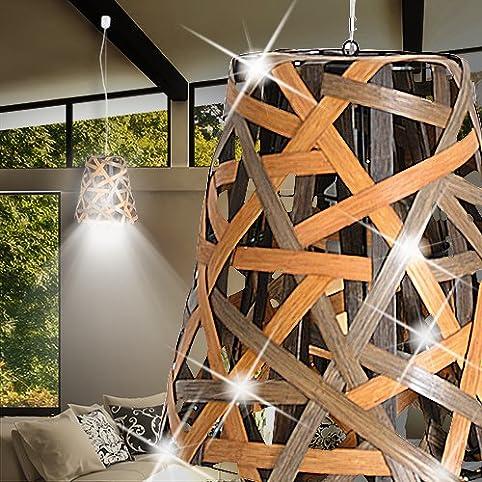Holz Hängele light afrika hänge leuchte braun holz dunkel rattan korb