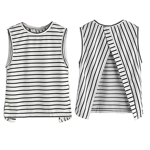 ff86118af7b5ca Bravetoshop Womens Sexy Cotton Stripe Sleeveless Blouse Split Back Tank Tops  T-Shirt (White