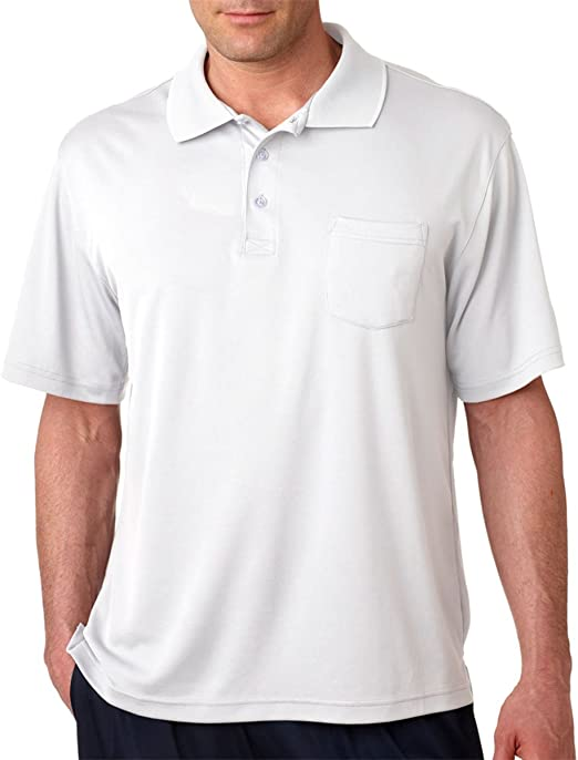 White X-Large. Pack of 12 UltraClub Mens Performance Polo Shirt