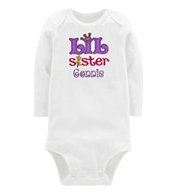 4d926bd7a Embroidered Little Sister Onesie or T-Shirt Personalized with Your Custom  Name (0-