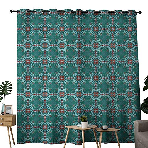 Green Vintage Jade (NUOMANAN Curtains Vintage,Traditional Vibrant Tile Pattern Abstract Spanish Motifs,Jade Green Light Blue Red,Treatments Thermal Insulated Light Blocking Drapes Back for Bedroom 84