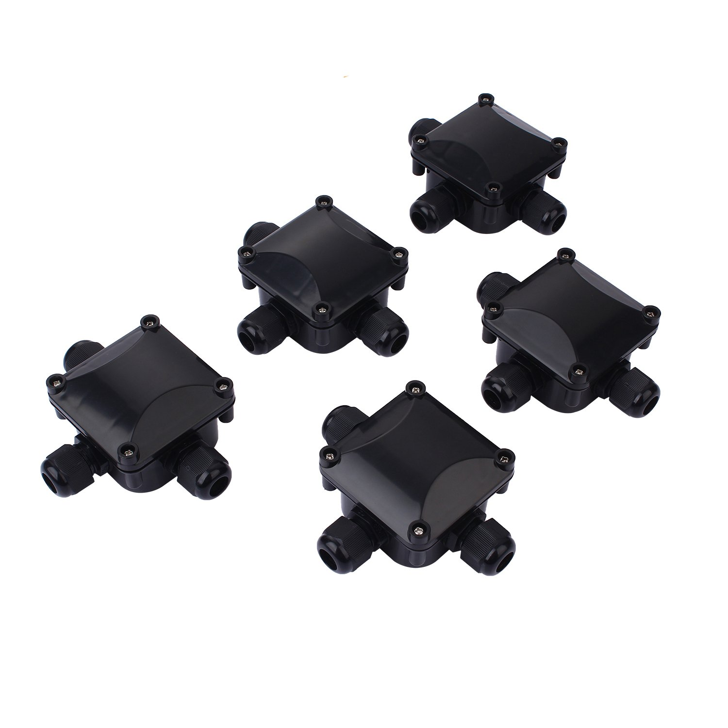 Junction Box IP67 Waterproof 3 Way Cable Connectors Plastic Wire Connector Junction Box Ø 6.5mm-10.5mm (5 Pack. Black) VABNEER