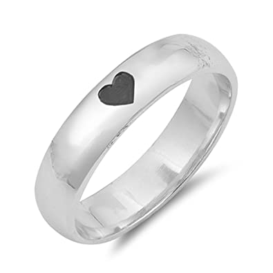 Amazoncom Cute Dainty Heart Imprint Center Plain Sterling Silver