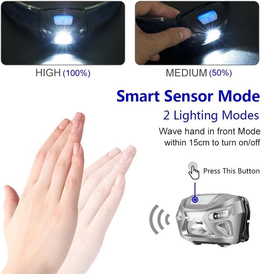 Linterna Frontal LED USB Recargable, Telgoner Impermeable Linterna ...