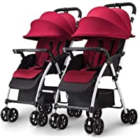 High quality baby carriage Trolley Twin Baby Strollers Sit Down Lie Down Detachable Stroller Light Portable Foldable Double Trolley Tricycle (Color : A)