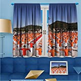SCOCICI1588 Room Darkening/Thermal Insulated Rod Pocket Window Curtains Square dance Set of Two Panels W84'' x L84'' Pair