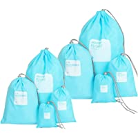 Amoyie Lot de 8 sacs à cordon imperméable, pochette organza pour voyage, Sacs de sport, trousse à toilette, cosmétique jouet, organiseurs de bagage petit, sac de cotonnade, sac à linge