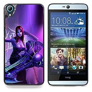 "Qstar Arte & diseño plástico duro Fundas Cover Cubre Hard Case Cover para HTC Desire 826 (Superhéroe Mujer Redhead Arte Villano Chica"")"