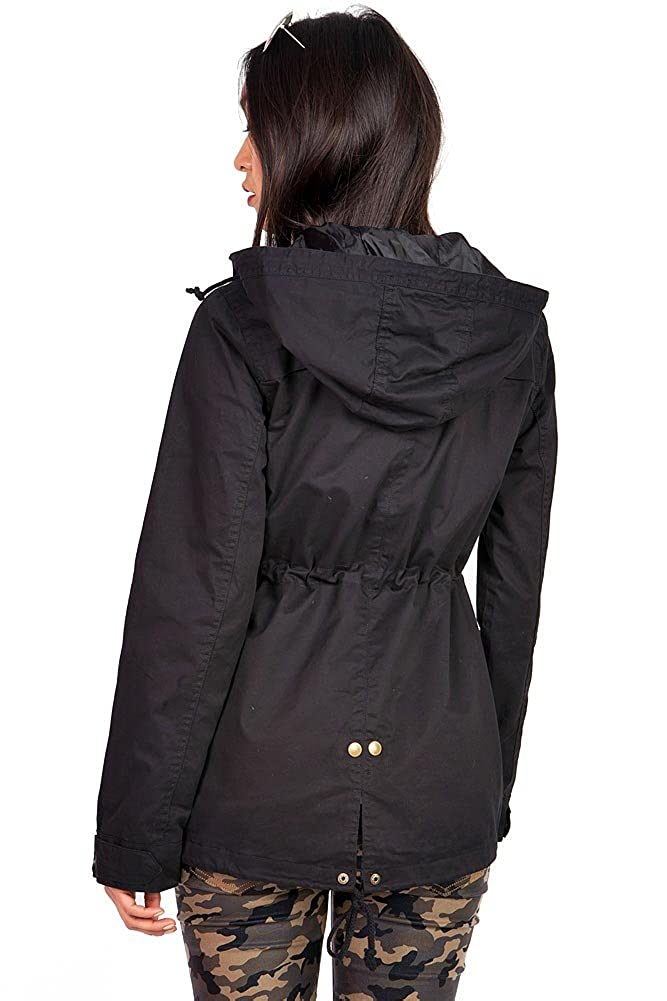 Ambiance Womens Cargo Style Hoodie Jacket