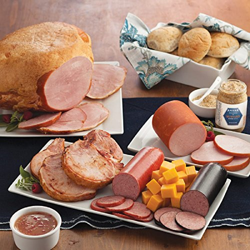 Gourmet Foods, Meats, Smoked Whole Bone-In Ham Canadian-Style Bacon Four 8 oz. Smoked Pork Chops 14 oz. Light-Smoked Summer Sausage Double-Smoked Summer Sausage Smoked Cheddar Chees by Unknown