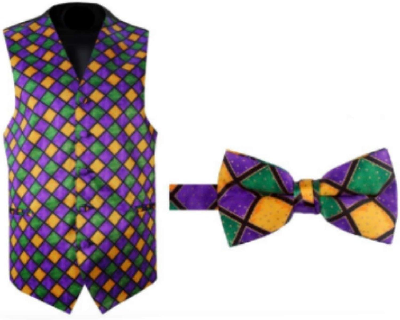 Mardi Gras Harlequin Tuxedo Vest and Bow Tie Size Large