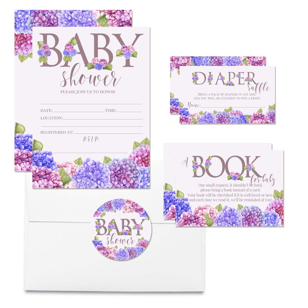 Deluxe Blue & Pink Hydrangea Floral Themed Baby Shower Party Bundle, Includes 20 each of 5''x7'' Fill In Invitations, Diaper Raffle Tickets, Bring a Book Cards & 2'' Thank You Favor Stickers w/ Envelopes
