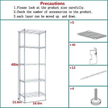 White ABCDOOM 5 Wire Shelving Steel Rack Adjustable Unit Storage Shelves for Laundry Bathroom Kitchen Pantry Closet