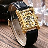 Luxury Winner Mechanical Wrist Watch Skeleton Dial Rectangle Women Leather Strap