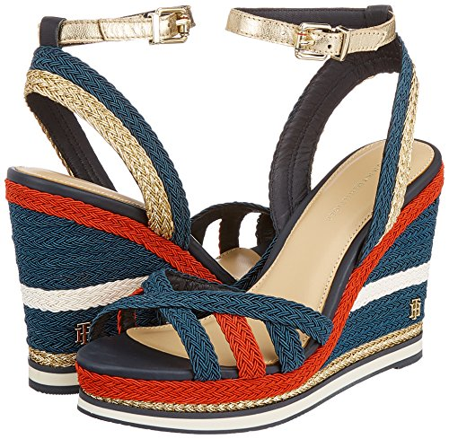 Tommy Femme Hilfiger Espadrilles rwb Sandal Wedge Bleu 020 Sporty Corporate YBYxqZpr