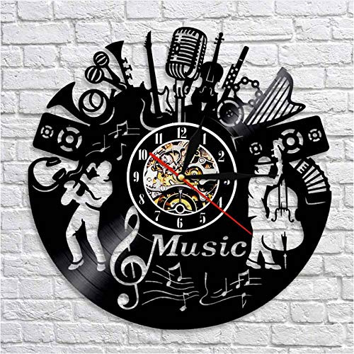 ZHRRYA Music Band Silhouette Musical Instruments Wall Decor Musicians Wall Clock Jazz Music Group Vintage Vinyl Record…