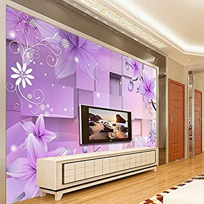 XLi-You 3D video wall in the living room bedroom tv background wall paper simple purple fantasy floral paintings
