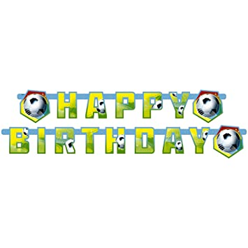 Amakando Bandolera Happy Birthday Fiesta temática fútbol Chicos Guirnalda de cumpleaños 180x15cm niños Guirnalda de Papel Pancarta Feliz Cumple en ...