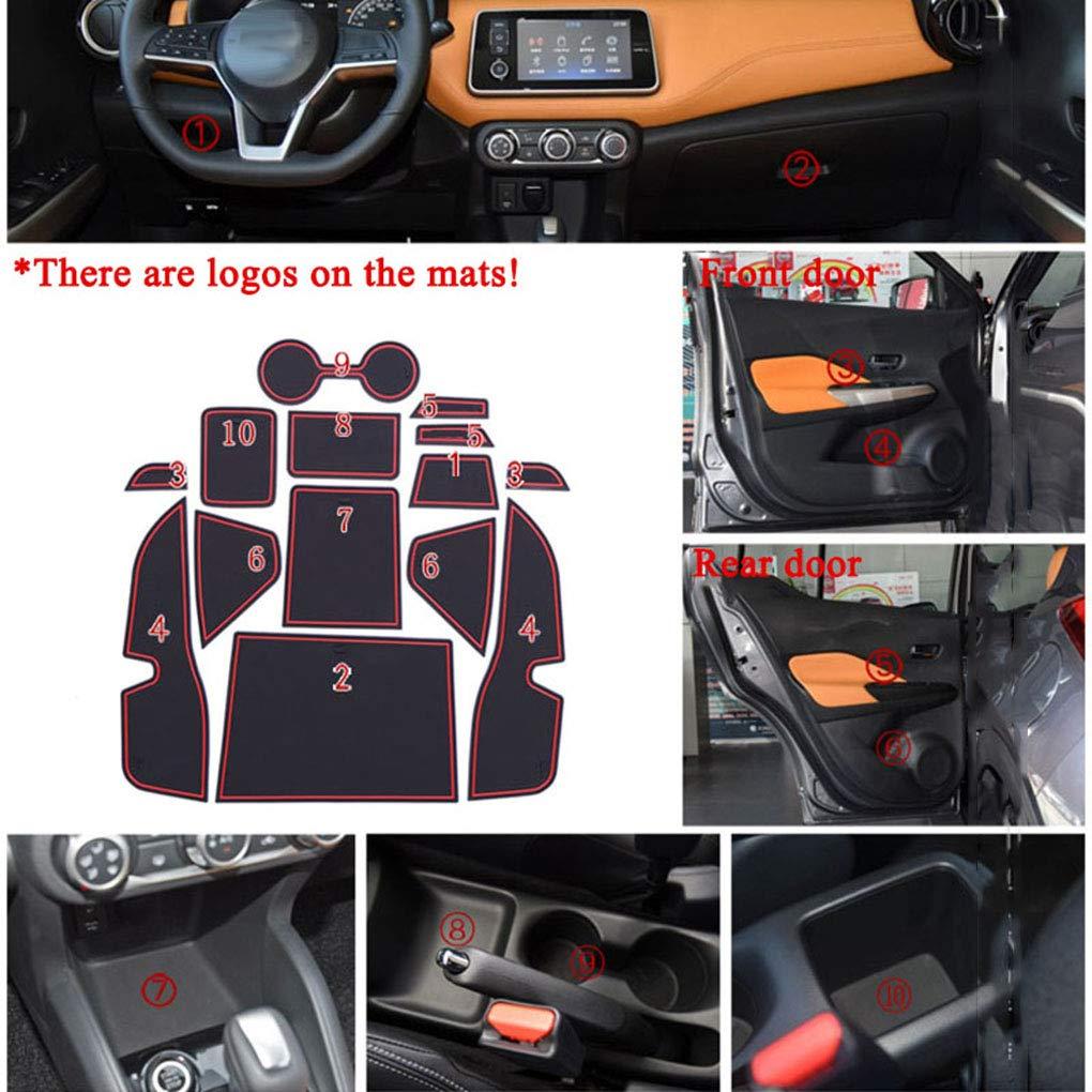 EgalBest 14pcs/Set Door Grooves Pad Cup Holder Gate Slots Mat Car ...