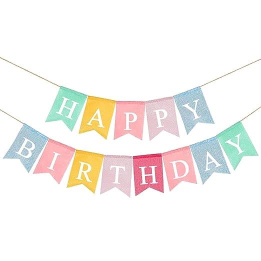 Amosfun Feliz cumpleaños banderín de arpillera Bunting ...
